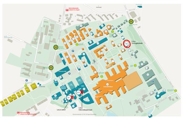 Lageplan der Räumlichkeiten des LoLa