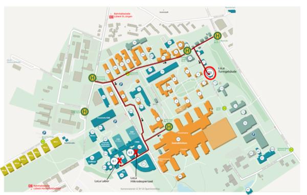 Lageplan der Räumlichkeiten des LoLa mit Wegen